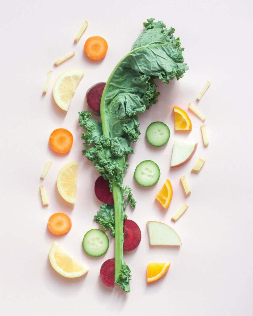 Foto mit Gemüse und Obst